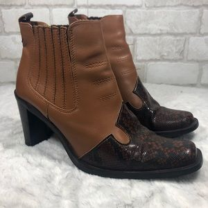 Western Festival Square Toe Snake Print Booties